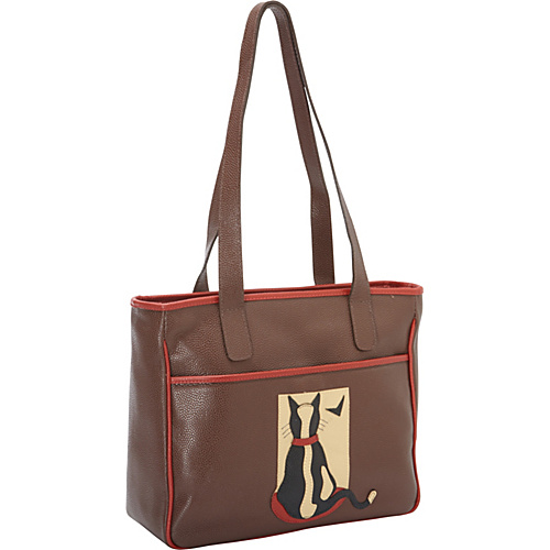 J.P. Ourse & Cie. Cat In Window Cocoa/Red - J.P. Ourse & Cie. Leather Handbags