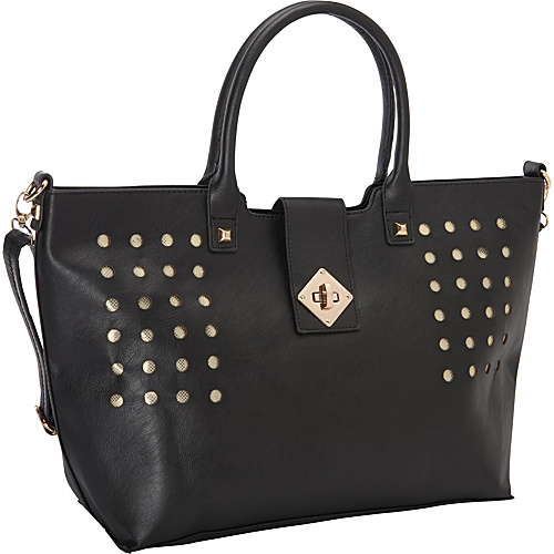 SW Global Perforated Fashionable Tote Style Shoulder Bag Black - SW Global Manmade Handbags