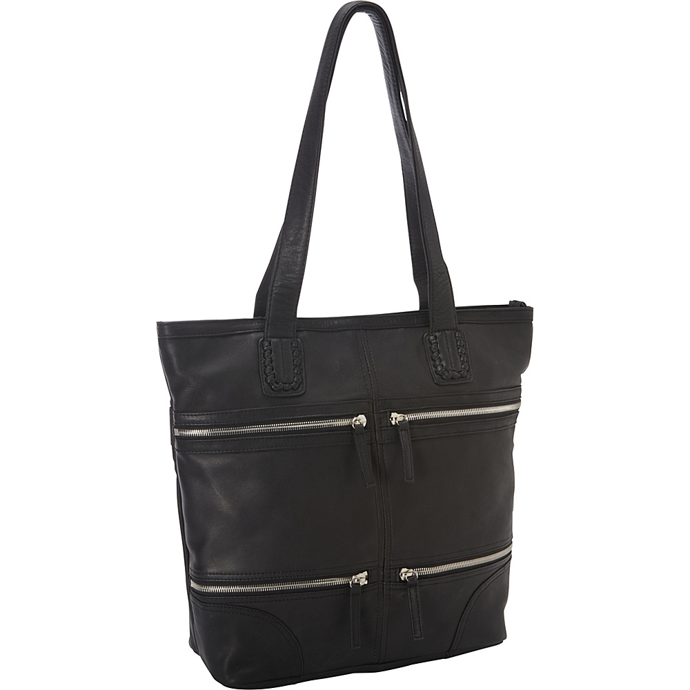 Derek Alexander NS Top Zip Tote Black - Derek Alexander Leather Handbags - Handbags, Leather Handbags