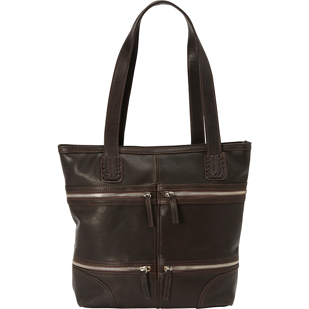 Derek Alexander NS Top Zip Tote Brown Derek Alexander Leather Handbags