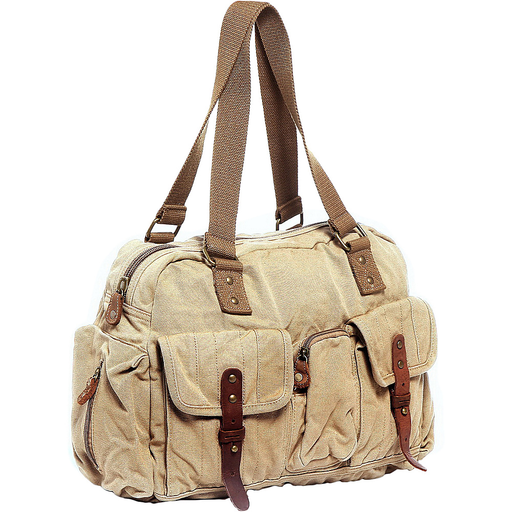 Vagabond Traveler Medium 18 Hand Lift Canvas Travel Gym Bag Khaki - Vagabond Traveler Travel Duffels - Duffels, Travel Duffels