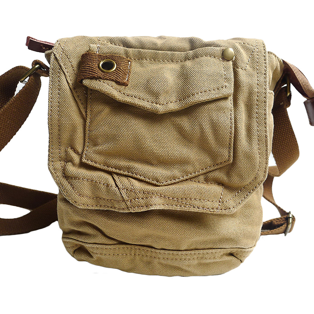 "Vagabond Traveler Tall 8"" Small Canvas Slim Sling Shoulder Bag Khaki - Vagabond Traveler Slings"