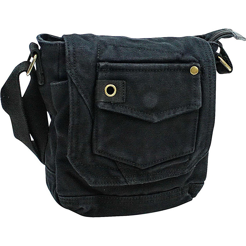Vagabond Traveler Tall 8 Small Canvas Slim Sling Shoulder Bag Black - Vagabond Traveler Slings - Backpacks, Slings