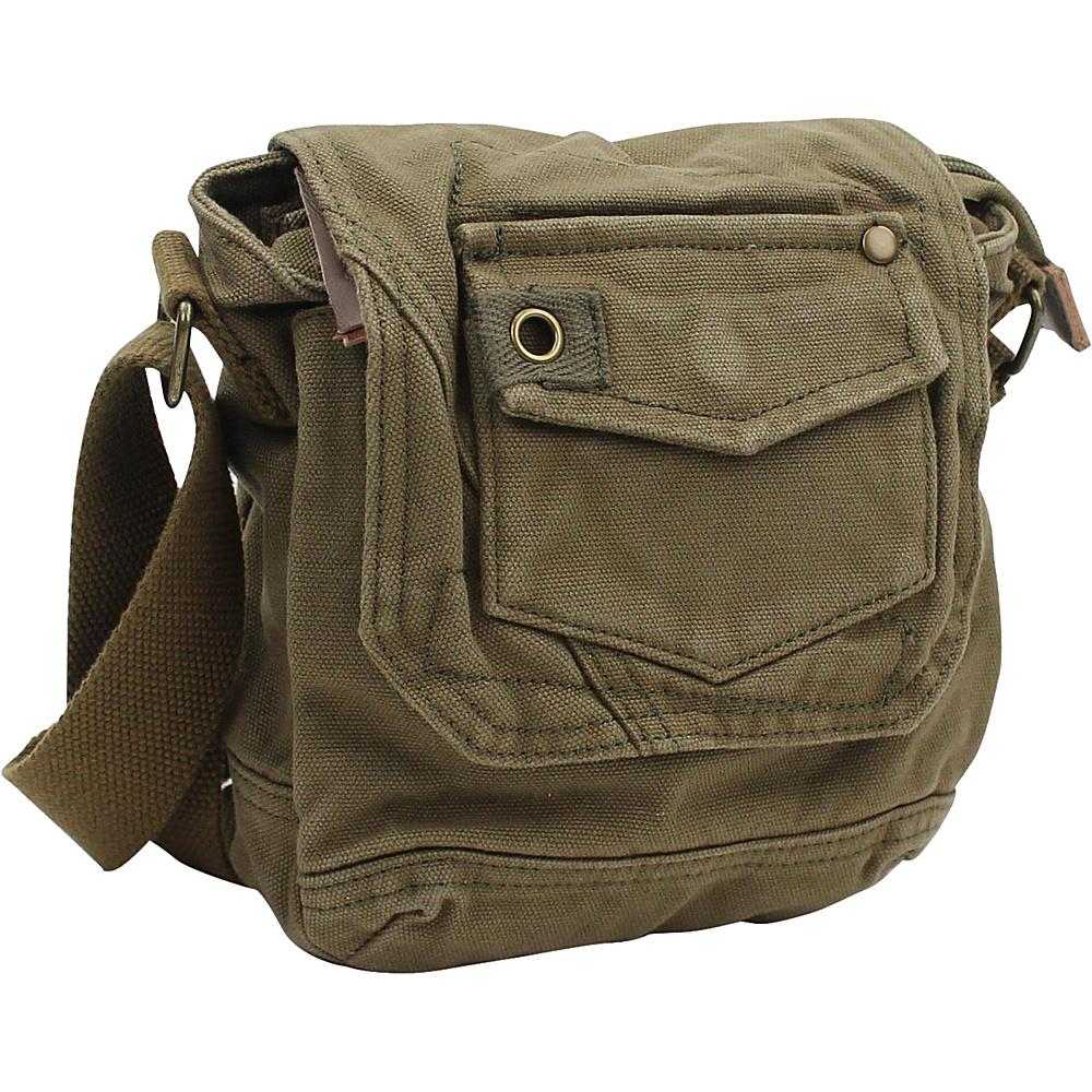 "Vagabond Traveler Tall 8"" Small Canvas Slim Sling Shoulder Bag Military Green - Vagabond Traveler Slings"