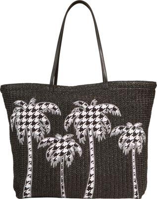 Vera Bradley Large Straw Tote Midnight Houndstooth - Vera Bradley Fabric Handbags