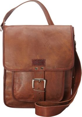Sharo Leather Bags Retro One Strap Close Messenger Bag Brown - Sharo Leather Bags Leather Handbags
