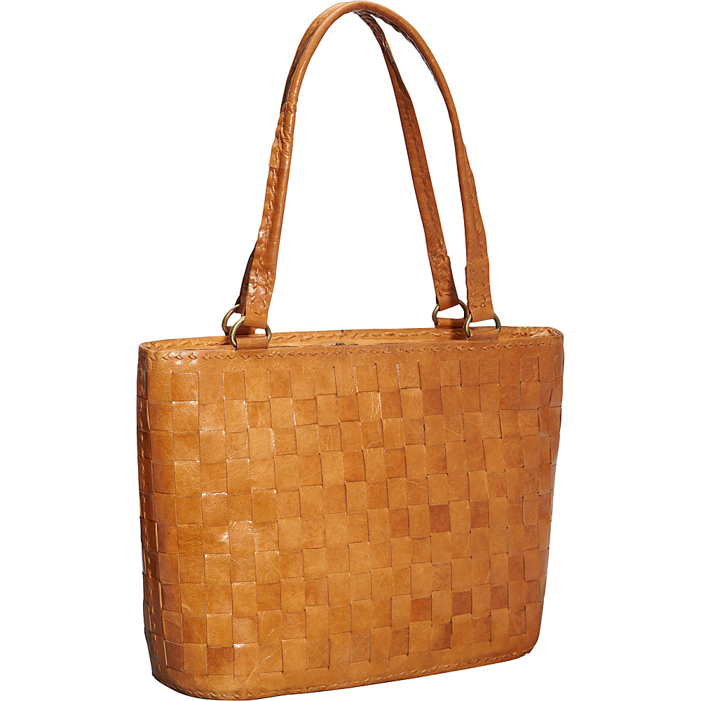 Sharo Leather Bags Women's Cross Weave Tote Brown - Sharo Leather Bags Leather Handbags