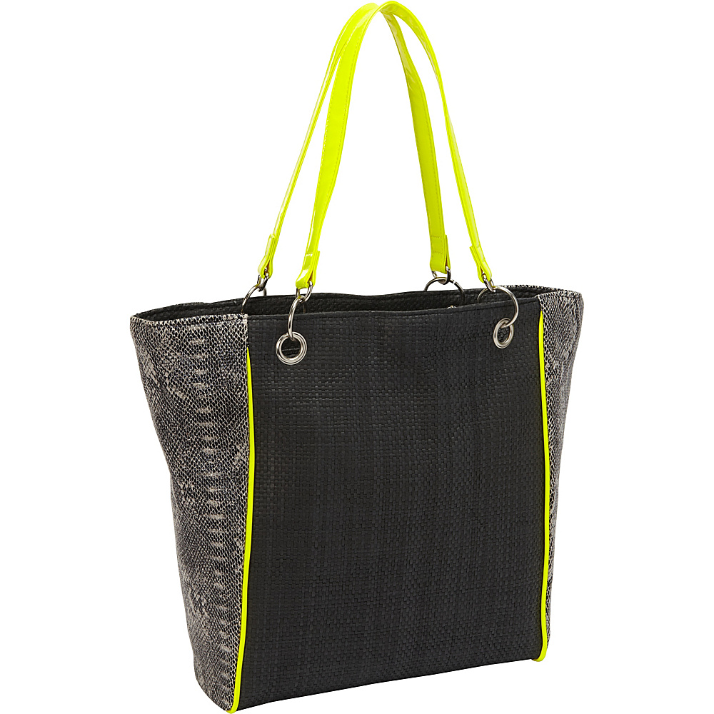 Magid Faux Snake Paper Straw Tote Black/Yellow - Magid Straw Handbags
