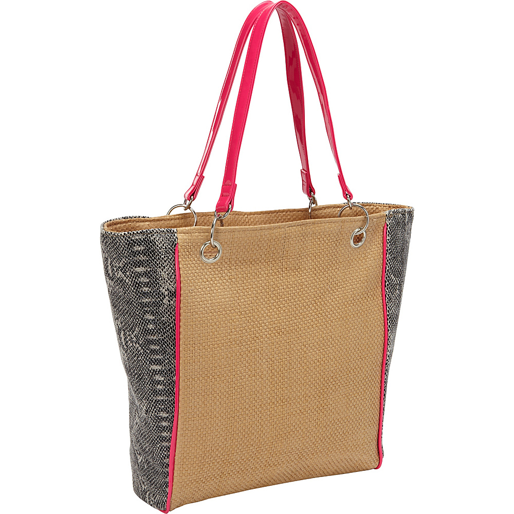 Magid Faux Snake Paper Straw Tote Toast/Pink - Magid Straw Handbags