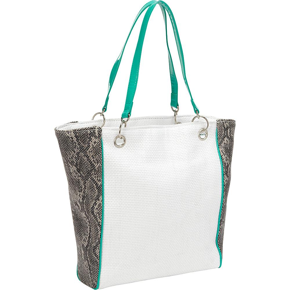 Magid Faux Snake Paper Straw Tote White/Aqua - Magid Straw Handbags