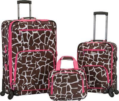 Rockland Luggage Pasadena 3 pc  Spinner Set Pink Giraffe - Rockland Luggage Luggage Sets