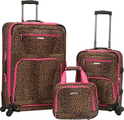 Rockland Luggage Pasadena 3 pc  Spinner Set Pink Leopard - Rockland Luggage Luggage Sets