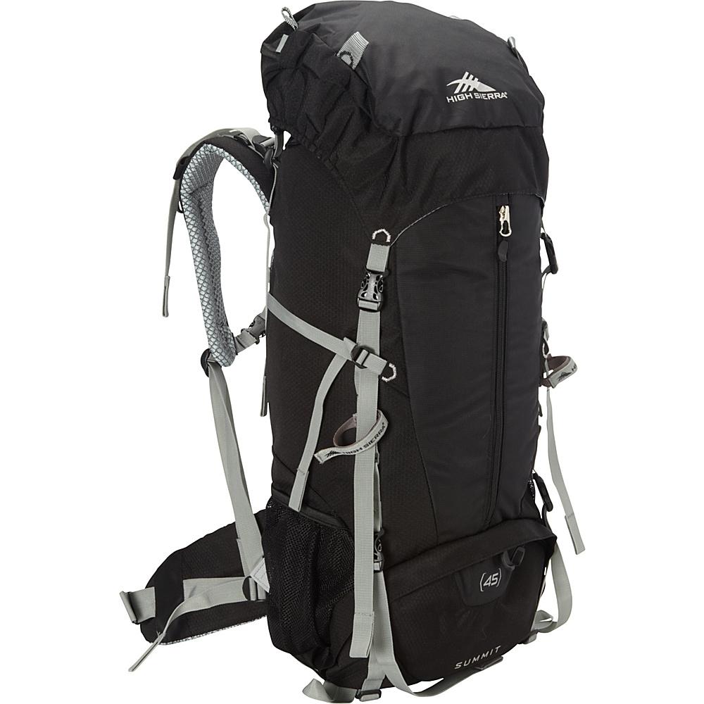 High Sierra Summit 45 Backpacking Pack Black Black Silver High Sierra Day Hiking Backpacks