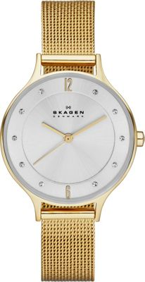 Skagen Klassik Three-Hand Woven Steel Watch Gold - Skagen Watches