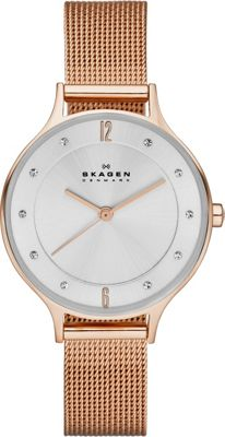 Skagen Klassik Three-Hand Woven Steel Watch Rose Gold - Skagen Watches