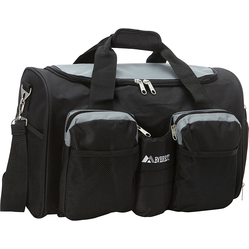 Everest Gym Bag with Wet Pocket Gray/Black - Everest Gym Duffels - Duffels, Gym Duffels