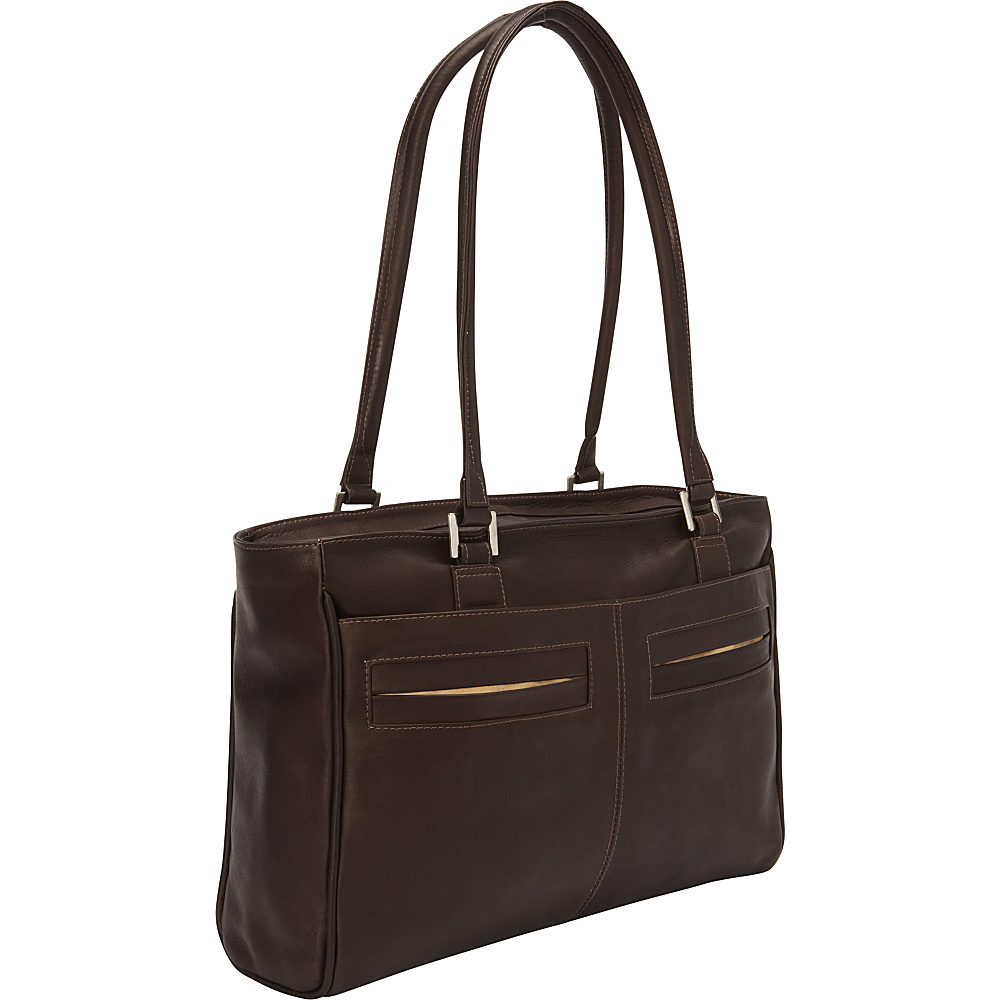 Piel Ladies Laptop Tote With Pockets Chocolate - Piel Womens Business Bags - Work Bags & Briefcases, Women's Business Bags