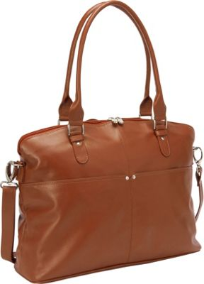 Piel Slim Executive Laptop Tote Saddle - Piel Women's Business Bags