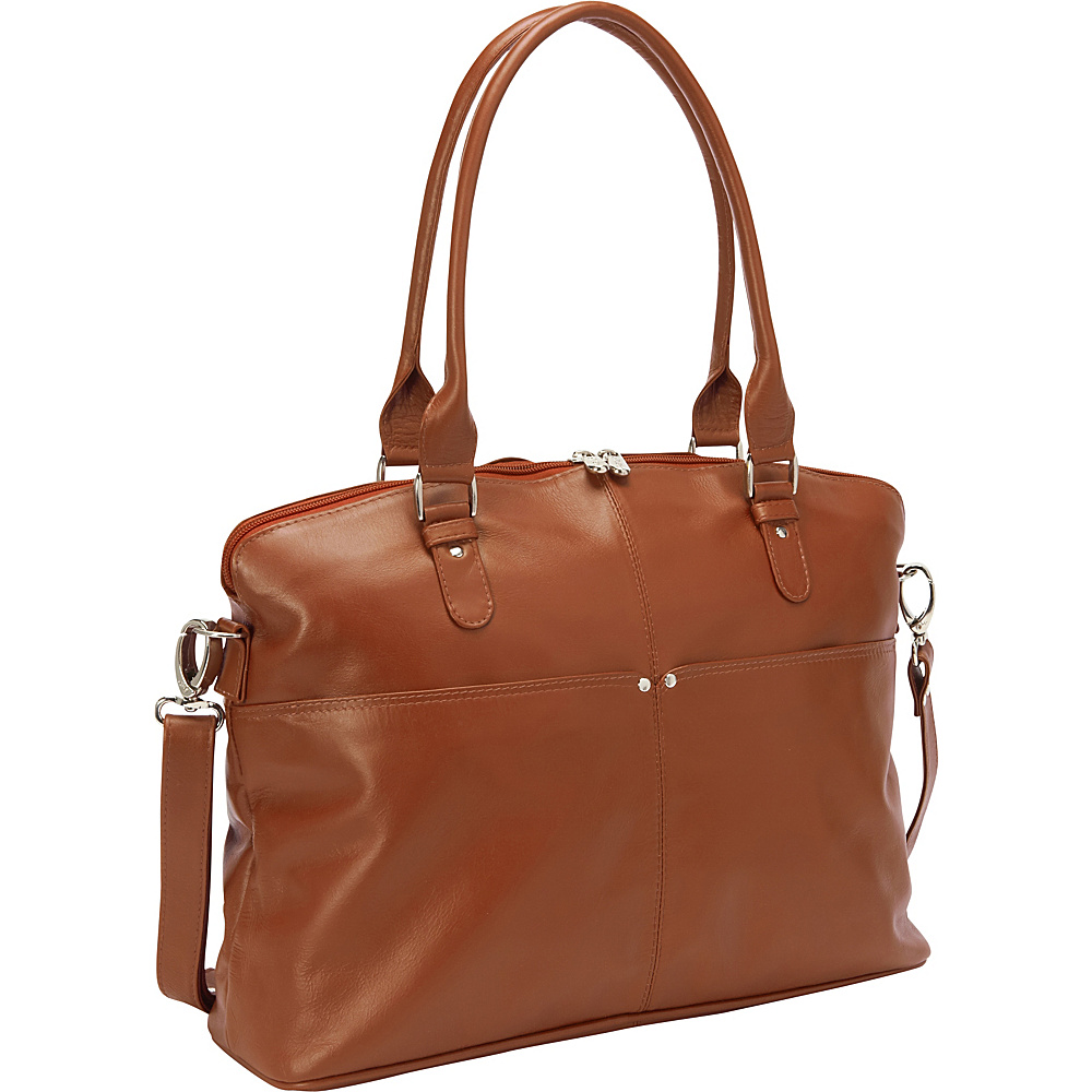 Piel Slim Executive Laptop Tote Saddle - Piel Womens Business Bags - Work Bags & Briefcases, Women's Business Bags