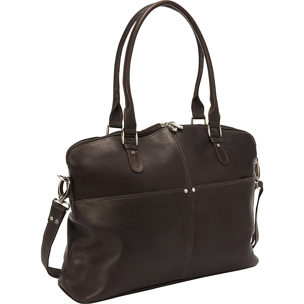 Piel Slim Executive Laptop Tote Chocolate - Piel Womens Business Bags - Work Bags & Briefcases, Women's Business Bags