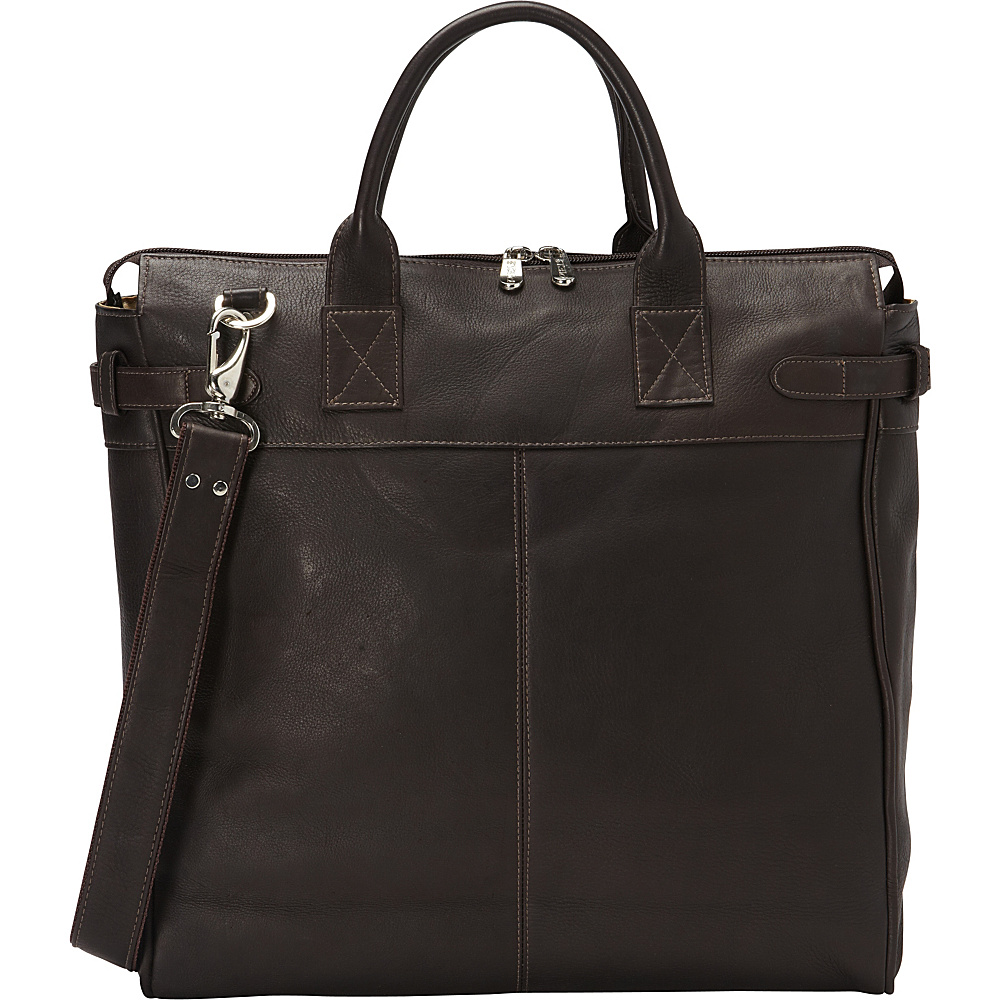 Piel Cross Body Travel Tote Chocolate - Piel Leather Handbags - Handbags, Leather Handbags