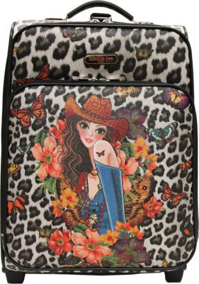 Nicole Lee Print Collection Rolling Expandable 20 inch Carry-on Sandra Black - Nicole Lee Softside Carry-On