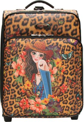 Nicole Lee Print Collection Rolling Expandable 20 inch Carry-on Sandra Camel - Nicole Lee Softside Carry-On