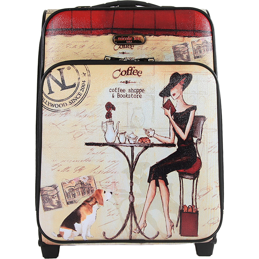Nicole Lee Print Collection Rolling Expandable 20 Carry on Coffee Nicole Lee Softside Carry On