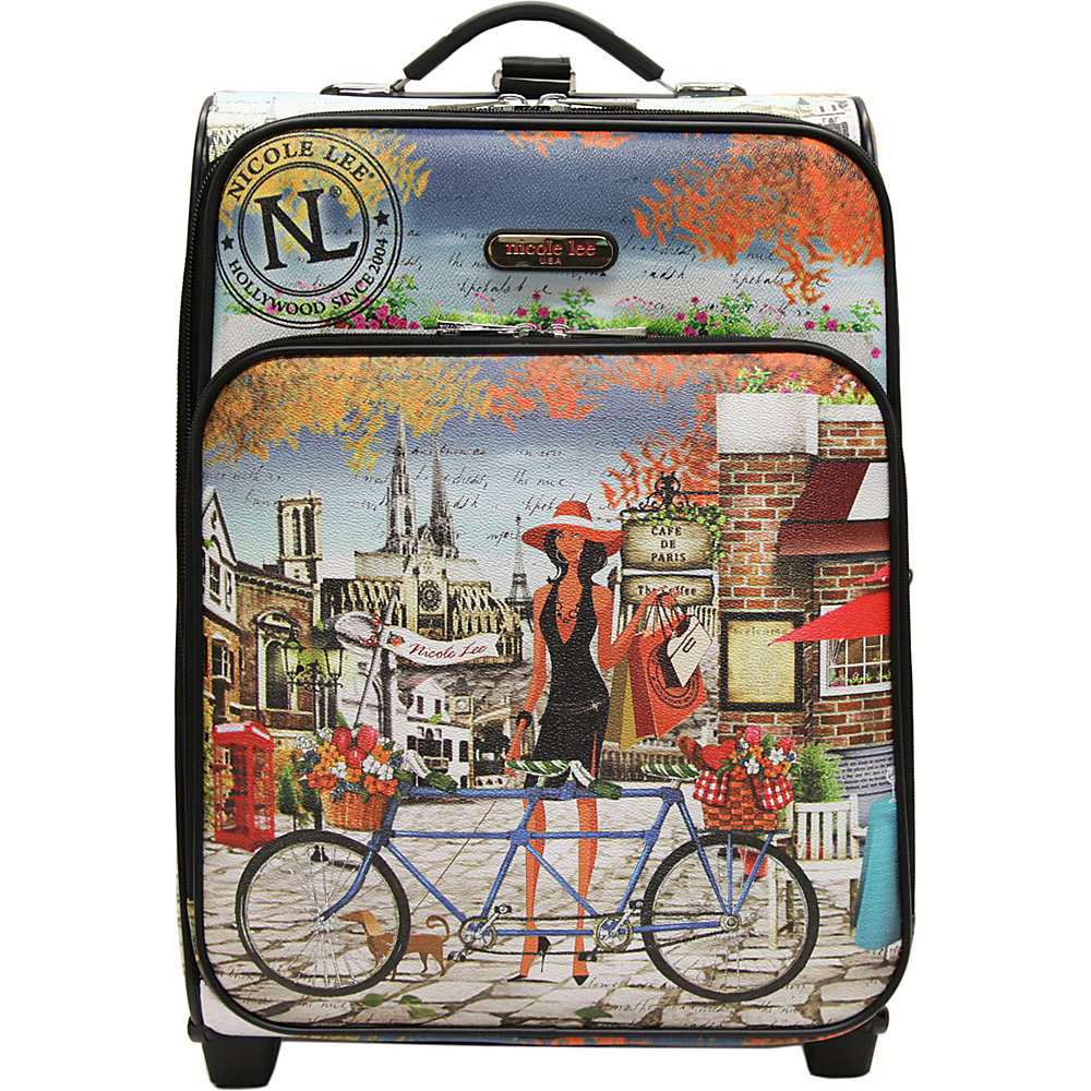 Nicole Lee Print Collection Rolling Expandable 20 Carry on Bicycle Nicole Lee Softside Carry On