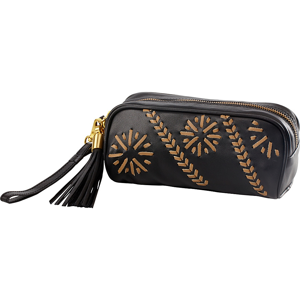 Clava Carmel Whipstitch Wristlet Black/Beige - Clava Leather Handbags