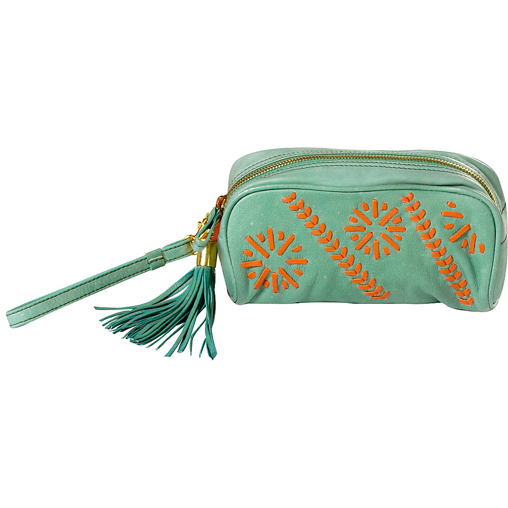 Clava Carmel Whipstitch Wristlet Green/Orange - Clava Leather Handbags