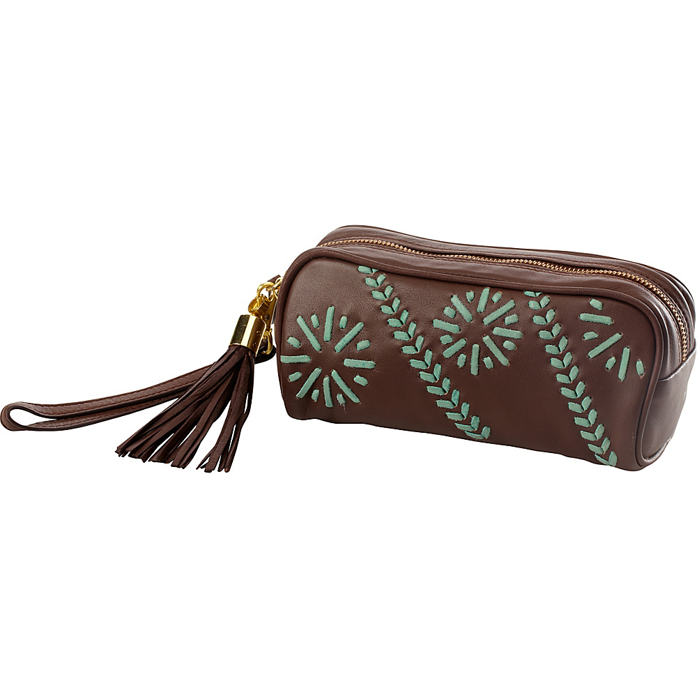 Clava Carmel Whipstitch Wristlet Brown - Clava Leather Handbags