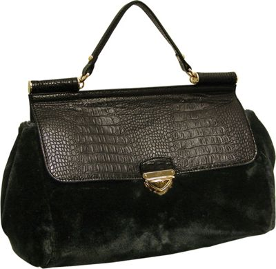 Adrienne Landau Rolled Strap Top Handle Satchel Black - Adrienne Landau Leather Handbags