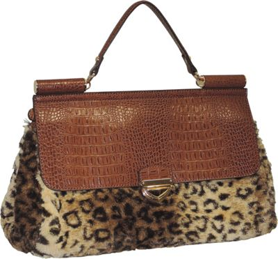 Adrienne Landau Rolled Strap Top Handle Satchel Brown - Adrienne Landau Leather Handbags