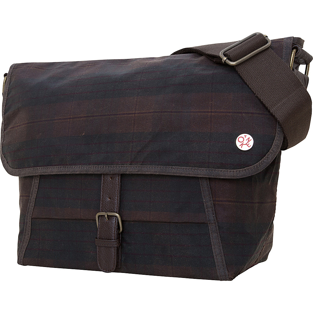 TOKEN Waxed Lincoln Messenger S Dark Brown Plaid TOKEN Other Men s Bags