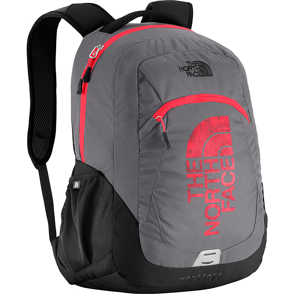 The North Face Haystack Laptop Backpack Zinc Grey Fiery Red The North Face Business Laptop Backpacks