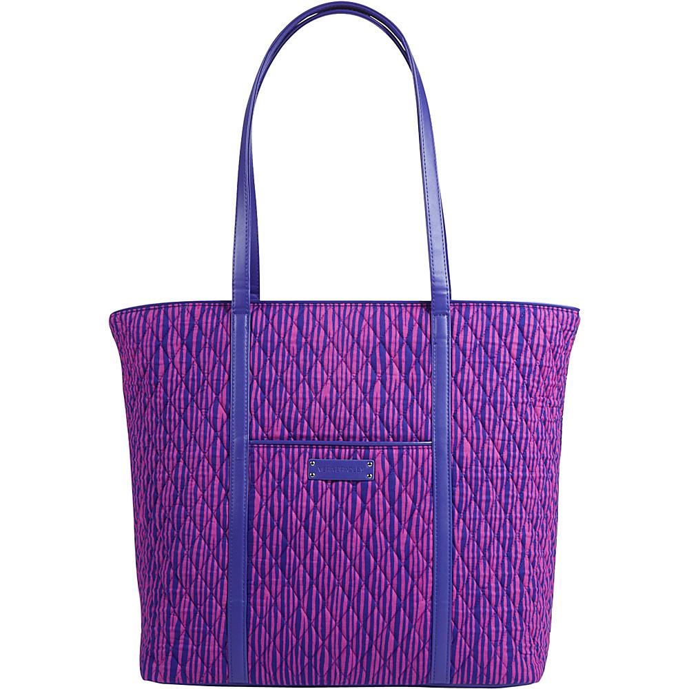 Vera Bradley Trimmed Vera Impressionista Stripe with Violet - Vera Bradley Manmade Handbags