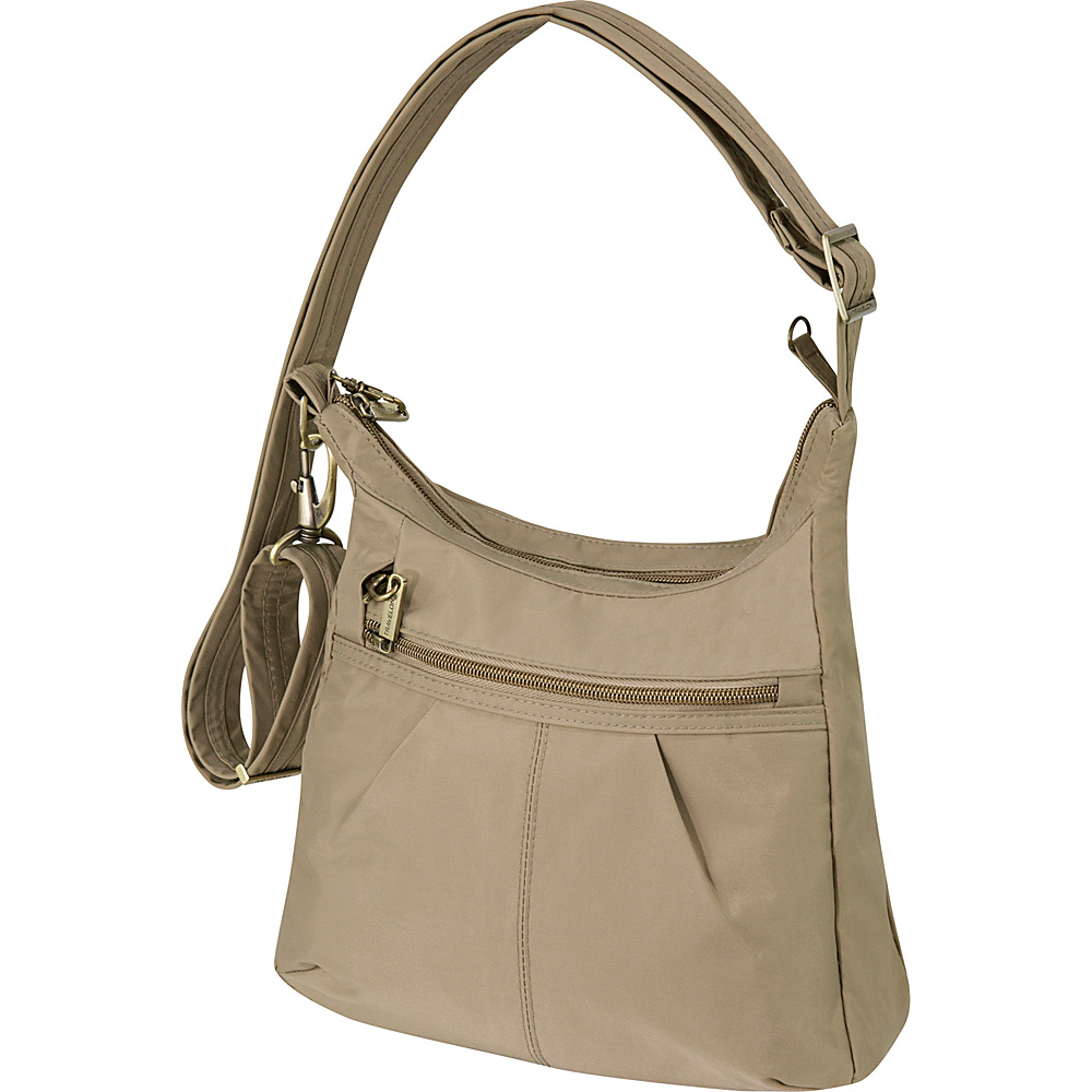 Travelon Anti-Theft Signature Top Zip Shoulder Bag Khaki - Travelon Fabric Handbags - Handbags, Fabric Handbags