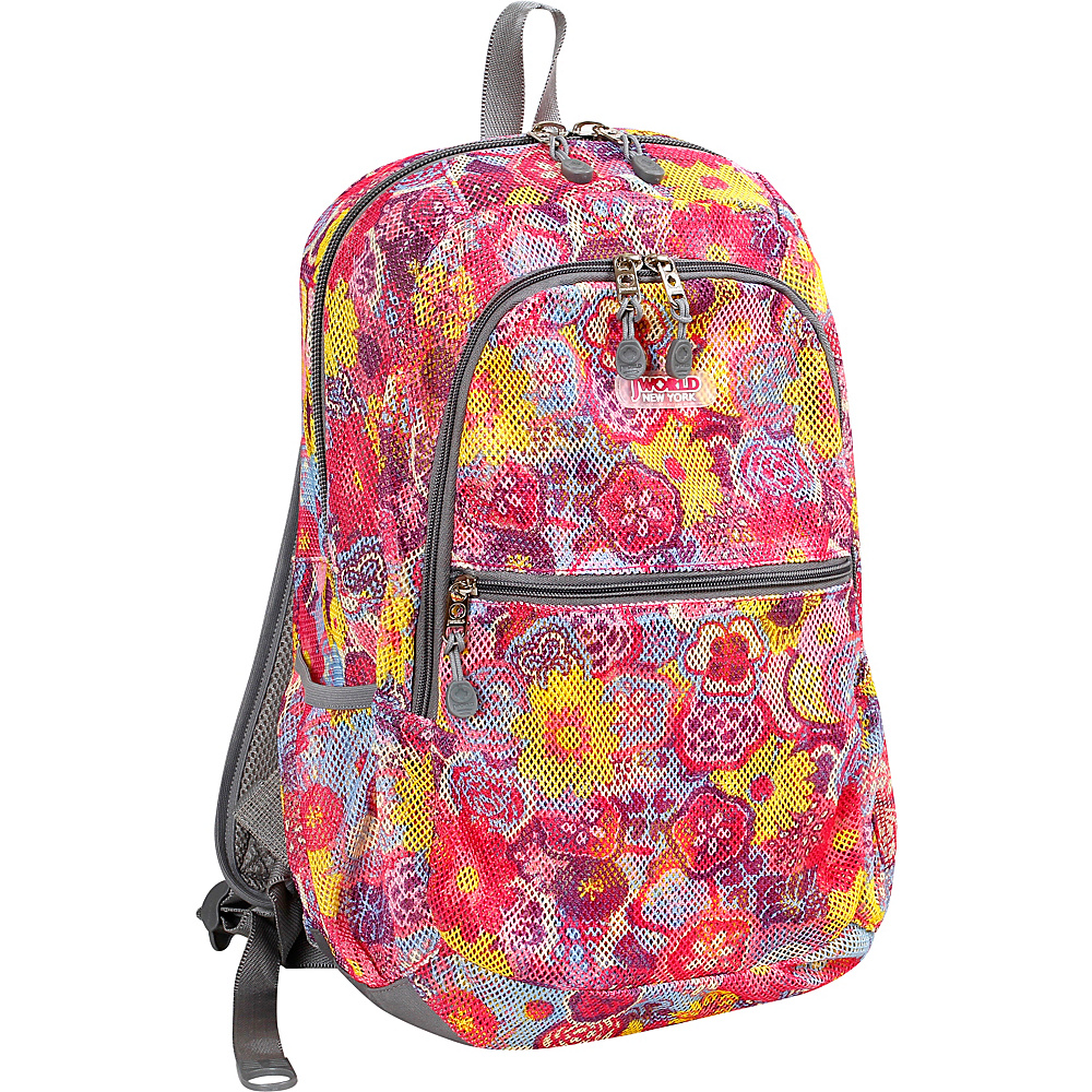 J World New York Mesh School Backpack POPPY PANSY - J World New York Everyday Backpacks - Backpacks, Everyday Backpacks