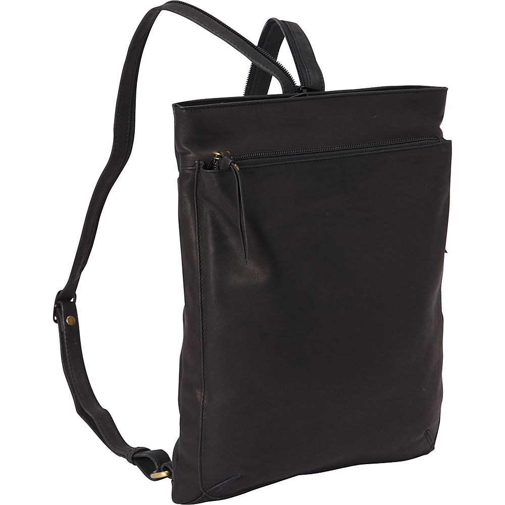 Derek Alexander North South Top Zip Backpack Sling Black Derek Alexander Leather Handbags
