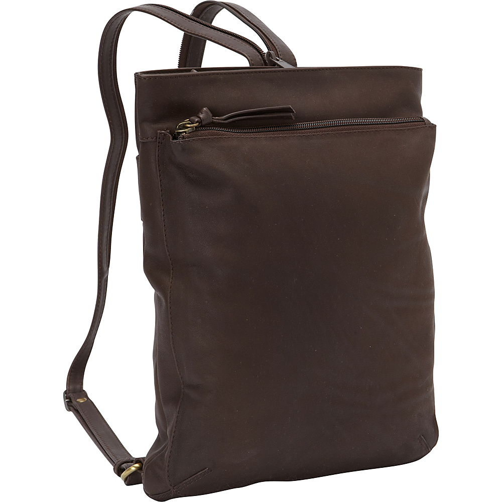 Derek Alexander North South Top Zip Backpack Sling Brown - Derek Alexander Leather Handbags - Handbags, Leather Handbags