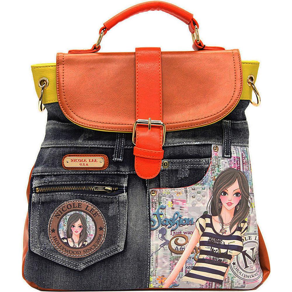 Nicole Lee Denim Print Backpack Purse DOLLY - Nicole Lee Fabric Handbags