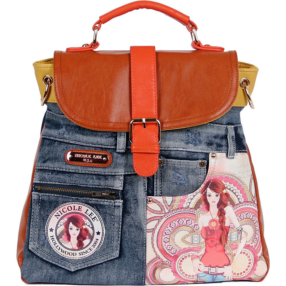Nicole Lee Denim Print Backpack Purse Marina - Nicole Lee Fabric Handbags