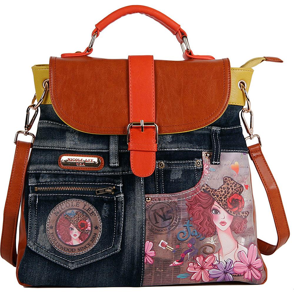 Nicole Lee Denim Print Backpack Purse SUNNY - Nicole Lee Fabric Handbags