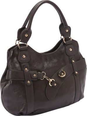 R & R Collections Leather Tote with Front Claw Shape Hook BROWNS - R & R Collections Leather Handbags
