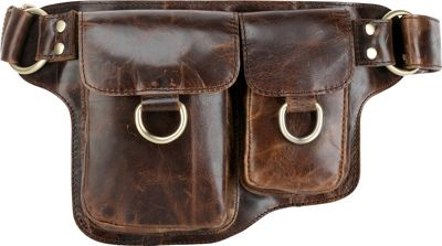 Vicenzo Leather Adonis 2 Leather Waist Pack Hip Purse X-Brown - Vicenzo Leather Waist Packs