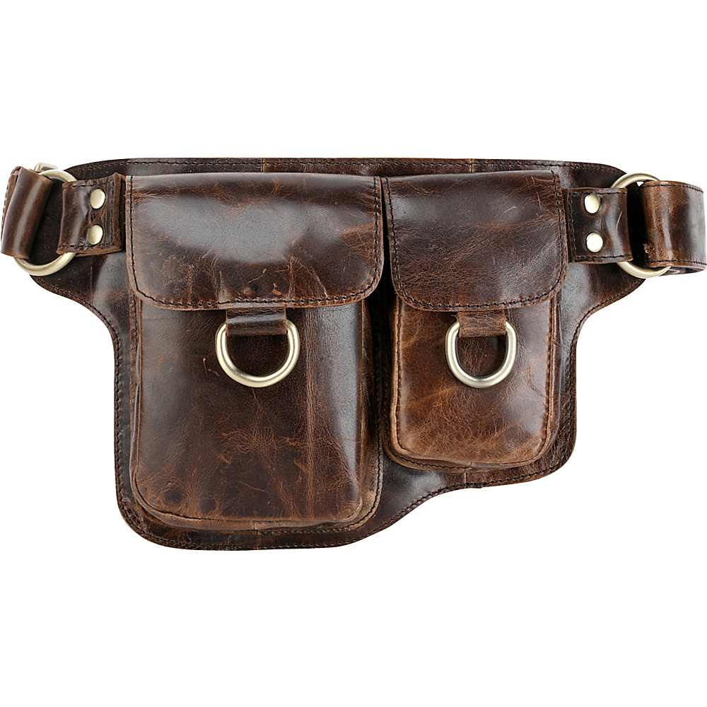 Vicenzo Leather Adonis 2 Leather Waist Pack Hip Purse X Brown Vicenzo Leather Waist Packs