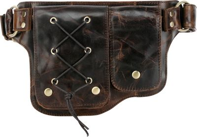 Vicenzo Leather Adonis 2 Leather Waist Pack Hip Purse Y-Brown - Vicenzo Leather Waist Packs