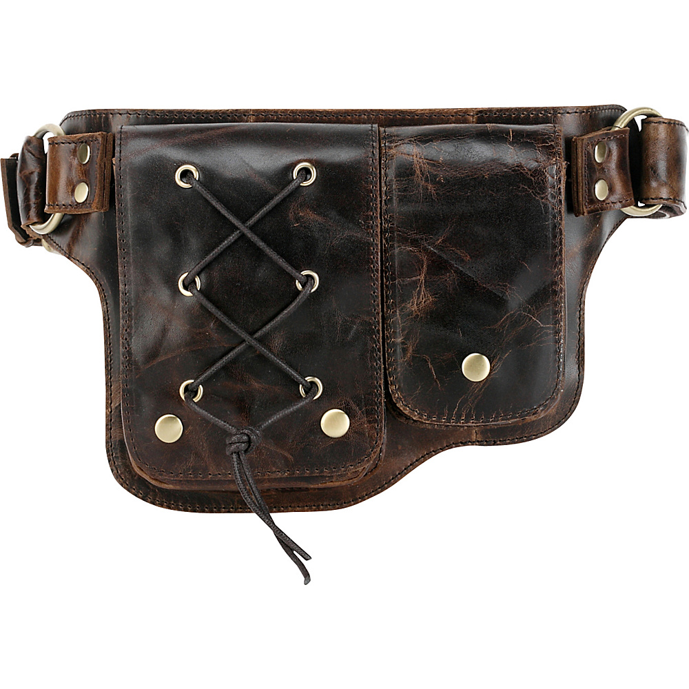 Vicenzo Leather Adonis 2 Leather Waist Pack Hip Purse Y Brown Vicenzo Leather Waist Packs