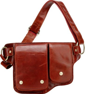 Vicenzo Leather Adonis 2 Leather Waist Pack Hip Purse Red - Vicenzo Leather Waist Packs